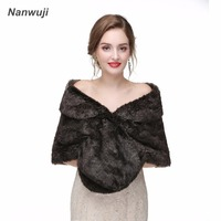 Black Real Fox Fur Bridal Wraps For Winter Wedding 2018 New Fur Cape Bridesmaids Black Fur Shawl For Wedding Shawl
