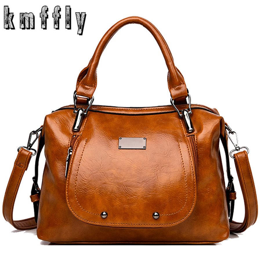 Retro Women Handbag Designer Women Bag High Quality Oil Wax Leather Ladies Crossbody Bag Brand Shoulder Bags For Women Tote 2019