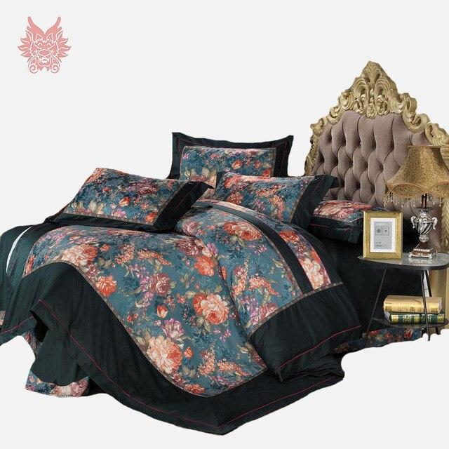 King Size European Dark Green Floral Jacquard Bedding Sets,duvet Cover Bed  Sheet Pillowcase 4pcs