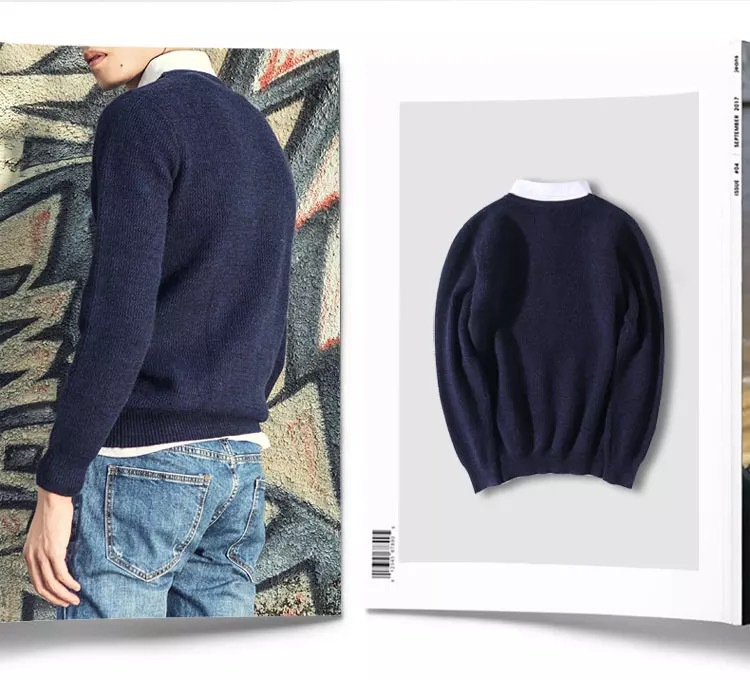 Male Brand Casual Slim Sweaters Men Thin Solid Decorative Badges Hedging V-Neck Men'S Sweater
