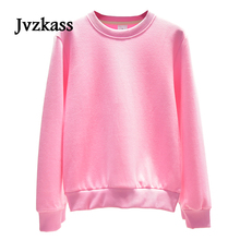 Jvzkass 2019 new spring and autumn solid color thin round neck Hoodie female head loose students tide Z148