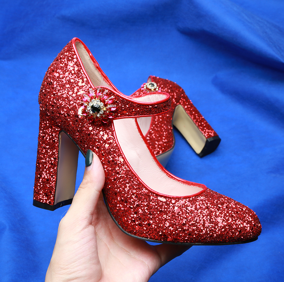 Spring Women Red Sequin Leather Rhinestone Buckle Lolita Pumps Ankle Strap Ladies Chunky High heel Bling Bling Wedding shoes  Spring Women Red Sequin Leather Rhinestone Buckle Lolita Pumps Ankle Strap Ladies Chunky High heel Bling Bling Wedding shoes