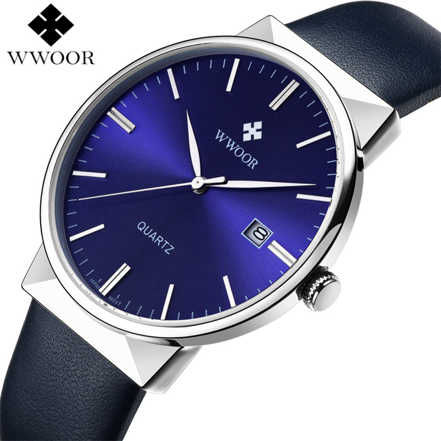 WWOOR Men's Watch Brand Luxury Waterproof Analog Quartz Clock Male Leather Belt Casual Sports Watches Men Blue relogio masculino