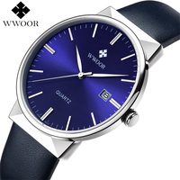 WWOOR Men S Watch Brand Luxury Waterproof Analog Quartz Clock Male Leather Belt Casual Sports Watches