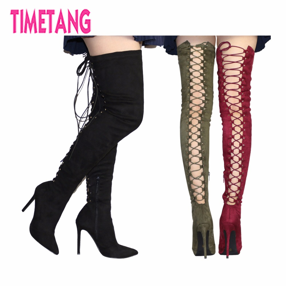 Amazing New 2017 Super Sexy Cross-tied Poined Toe High Heel Over-the-Knee Women Boots Fashion Lace-up Thin Heel Lady Long Boots