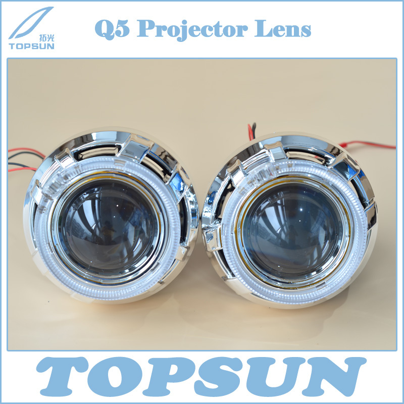 3.0 inch Bifocal Q5 H4 Projector Lens Using D2R D2S D2H Xenon Bulb, and with LED Optic Light Guide Angel Eyes and Shroud gztophid 3 koito q5 h4 bixenon projector lens with optic light guide angel eyes and shroud using d2h xenon bulb h4 socke