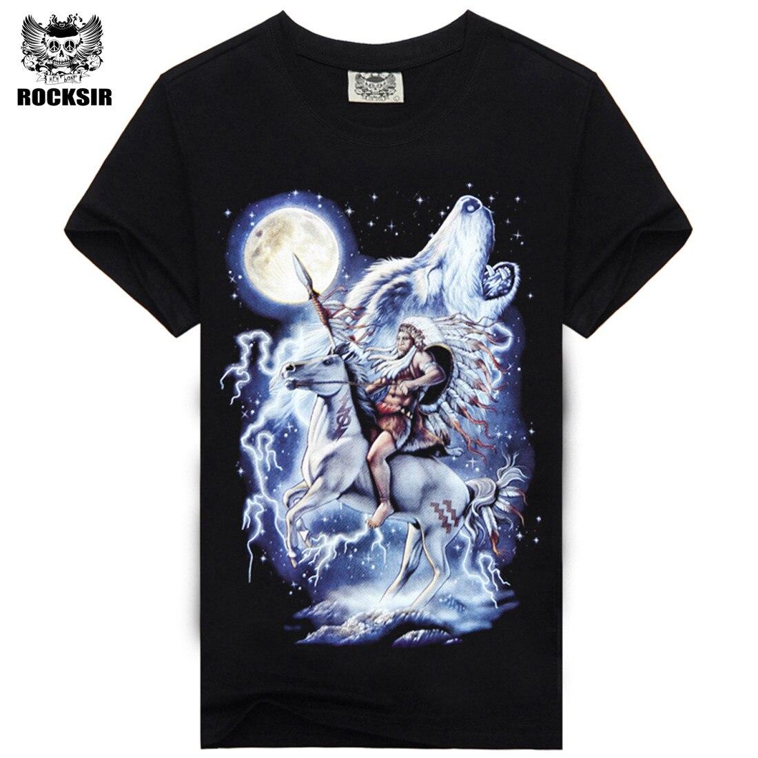 77f7a4461  Rocksir  2016 Nova Marca de Moda Manga Curta Camisetas Lobo Indiano Com  Cavalo Imprimir camisetas Asiático Tamanho tshirt