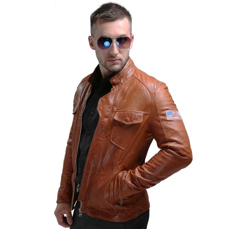 Männer Echte Lederjacken Winter Echte Lederjacke Moto & Biker Schaffell Mantel Männliche Echte Lederjacke Für Mann 58663