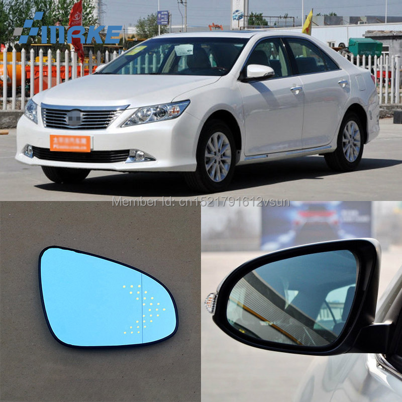 Rearview Mirror Blue Glasses LED Turn Signal with Power Heating For Honda Fit