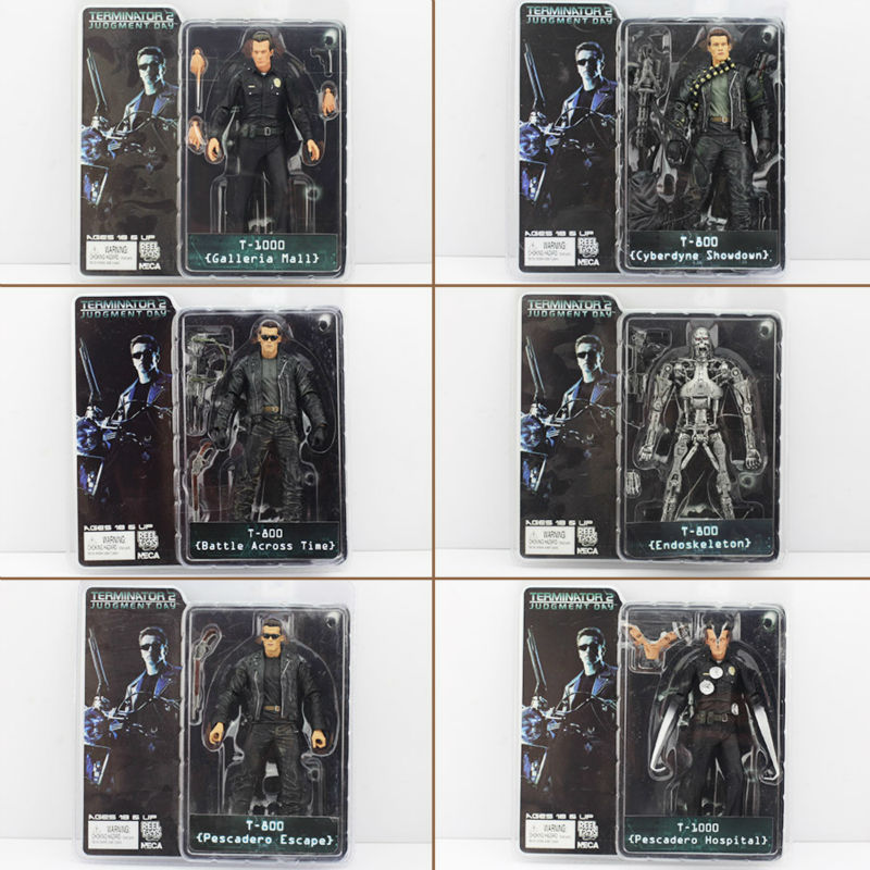 Free shiipping the terminator 6pcs 7inch/18cm 6style neca the terminator 2 action...