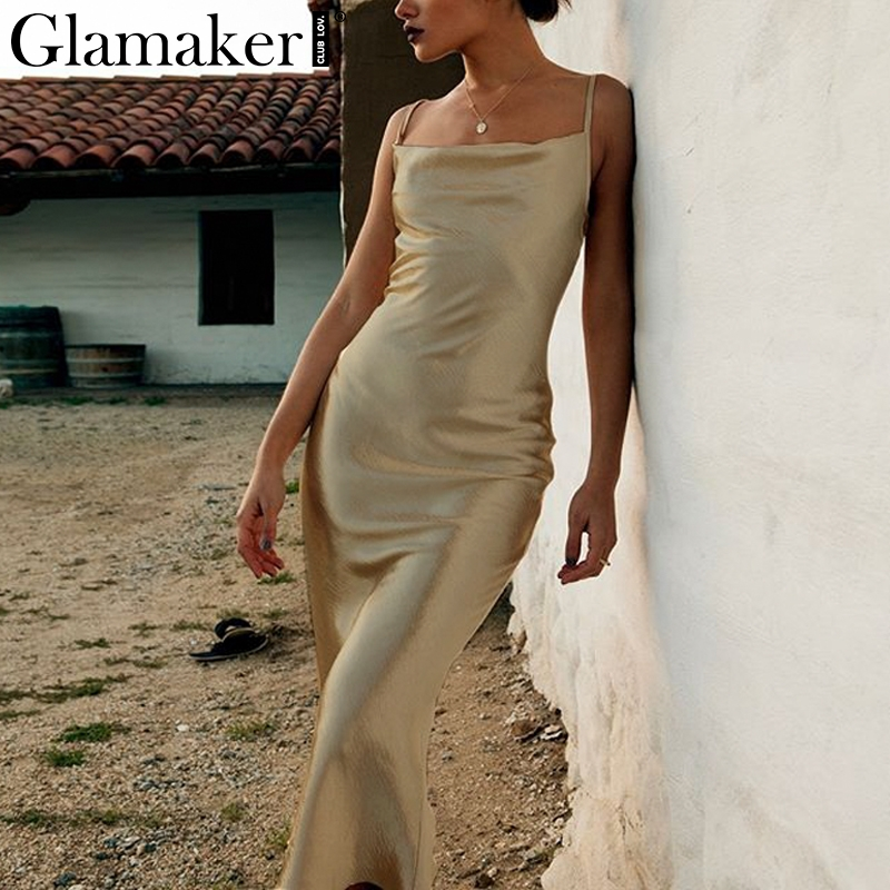 Glamaker Satin gold backless <font><b>sexy</b></font> bodycon long <font><b>dress</b></font> <font><b>Women</b></font> summer <font><b>lace</b></font> up white party <font><b>dress</b></font> <font><b>Elegant</b></font> female maxi club beach <font><b>dress</b></font> image