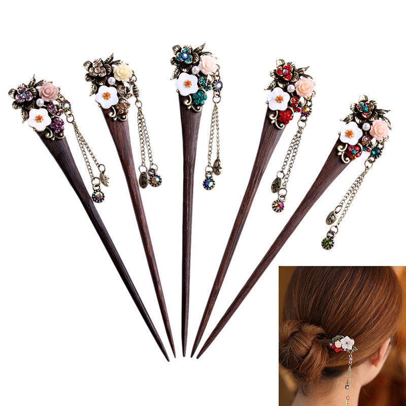 1pcs Women Ladies Vintage Wooden Hair Stick Pin Rhinestone Flower Wood