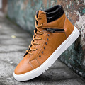 2016 Autumn and Winters New Fashion Trend Casual Male Shoes Korea Style High To Help Male Short Boots Lace Up Non-slip Men Boots