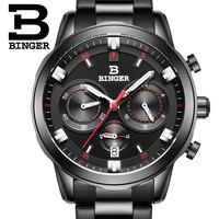 BINGER sport Chronograph zegarki męskie pilotów czarna stal Watchband Top luksusowa marka mężczyźni zegarek kwarcowy zegar chłopiec w Zegarki kwarcowe od Zegarki na