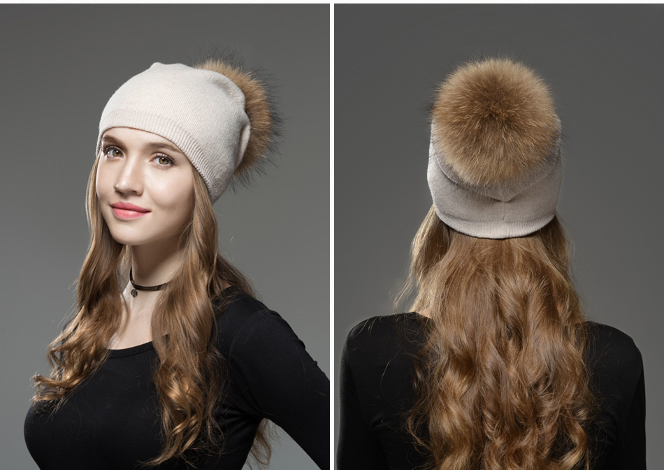 Mosnow Hat Female Women Raccoon Wool Fox Fur Pom Poms Warm Knitted Casual High Quality Vogue Winter Hats Caps Skullies Beanies1 (10)