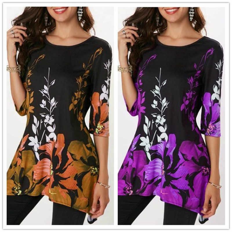 ใหม่ 2019 ฤดูใบไม้ผลิฤดูร้อน T เสื้อผู้หญิงครึ่งแขน O-Neck พิมพ์เสื้อ T ลำลอง VINTAGE ดอกไม้ T เสื้อ PLUS ขนาด 5XL