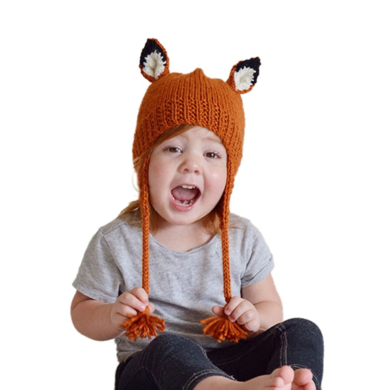 Cute Fox Winter Knitted Hats For Kids Trend Warm Children Beanie Shawl Cap Boys Girls Skull Scarf Caps Wool Shapka Gh-140 Girls' Clothing Accessories