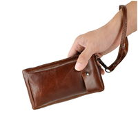 Vintage Oil Wax Genuine Cow Leather Purse Solid Color Zipper Hasp Open Pocket Multi Cards Holder Mens Long Clutch Wallets