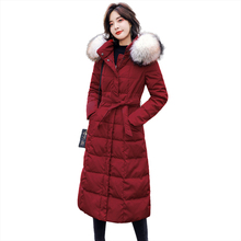 2019 Winter Parker Fashion New Womens Jacket Cotton Coat Waist Korean Version Long Section Over Knee Female