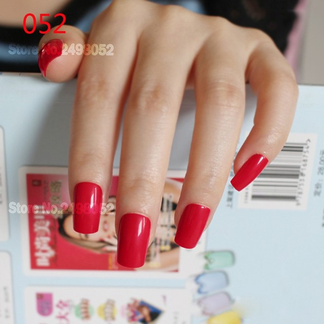 24pcs Fashion Y Red Flat Top Fake Nails Art Tips Artificial Designed Candy Acrylic