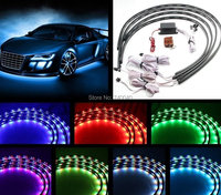 7 Color LED Under Car Modified Truck Jeep Glow Underbody System Neon Lights Strip Kit W