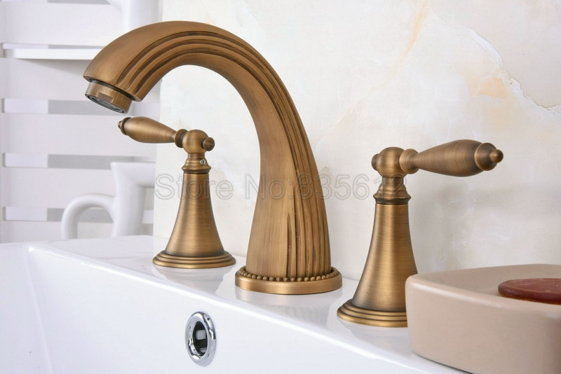 7 Faucet Finishes For Fabulous Bathrooms: Bathroom Widespread Style Basin Faucet Antique Brass Dual