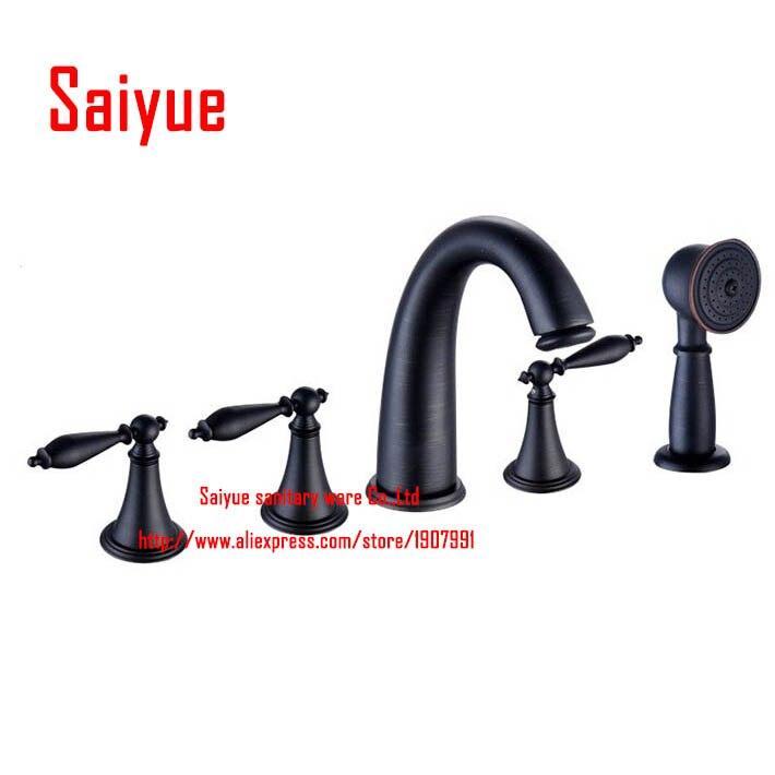 European Style 5pcs Deck Mounted Bathtub Bath Tub Faucet with Handheld Shower Set oil rubbed bronze