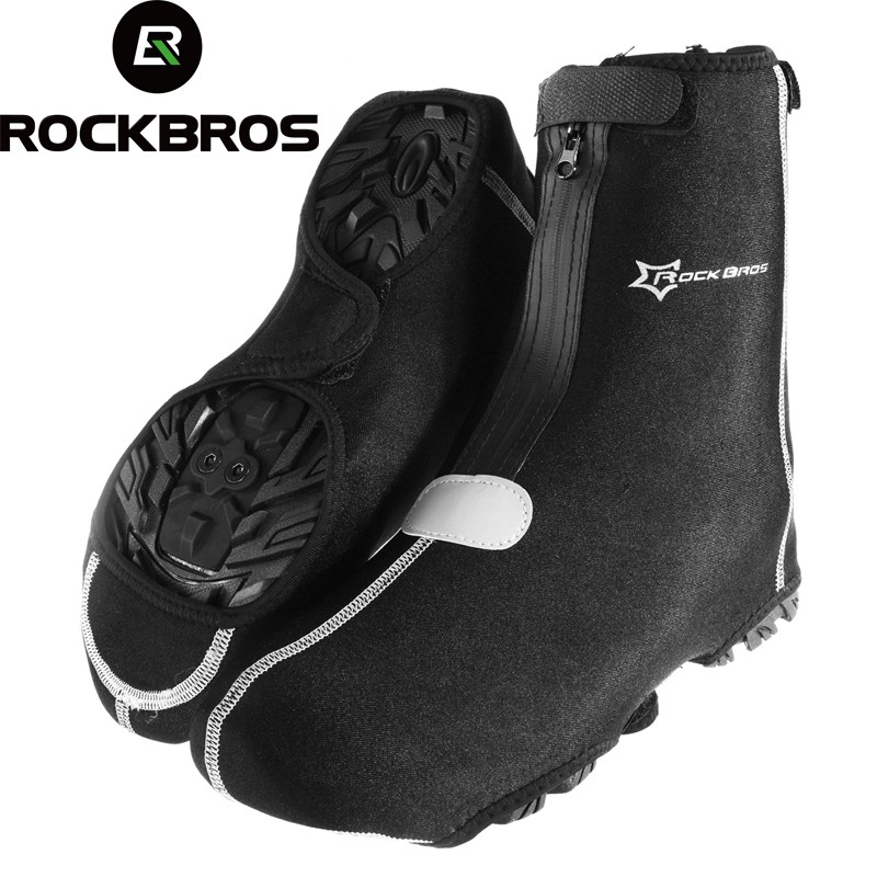 ROCKBROS Outdoor Sports Cycling Shoe Warmer Covers MTB Mountain Bike Thicken Windproof overshoes Free Size Black sahoo 45516 outdoor cycling sunproof polyester sleeves covers black white pair xxl