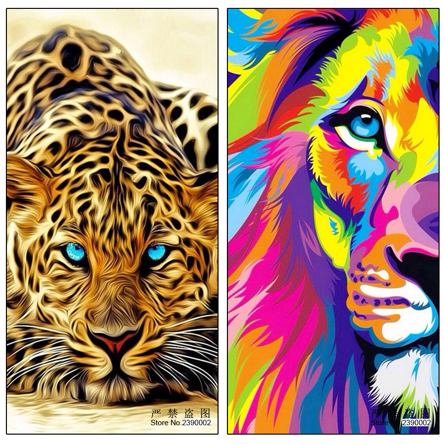 5D DIY Diamond Painting Lion Mighty Animal Home Decoration - Arts, Crafts and Sewing