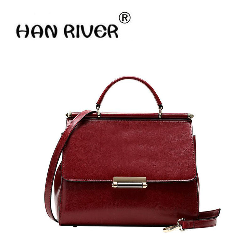 HANRIVER 2018 Spring and summer new genuine leather ladies oil wax cowhide hand bill  lading shoulder slanting small square bagHANRIVER 2018 Spring and summer new genuine leather ladies oil wax cowhide hand bill  lading shoulder slanting small square bag