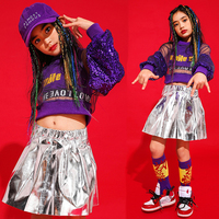 Kids Jazz Dance Costume Fashion Sequin Girls Hip Hop Stage Outfits Street Dance Performance Clothing Dancing Top Skirt DC1431