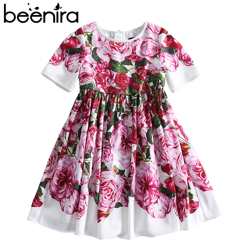 Beenira Children Clothes 2018 New Summer Style Kids Short-Sleeve Fashion Flower Princess Dresses Design For Girls Clothing Derss new girls dresses summer 2016 short sleeve v neck rabbit princess costumes for kids chinese style a line dresses girls clothes
