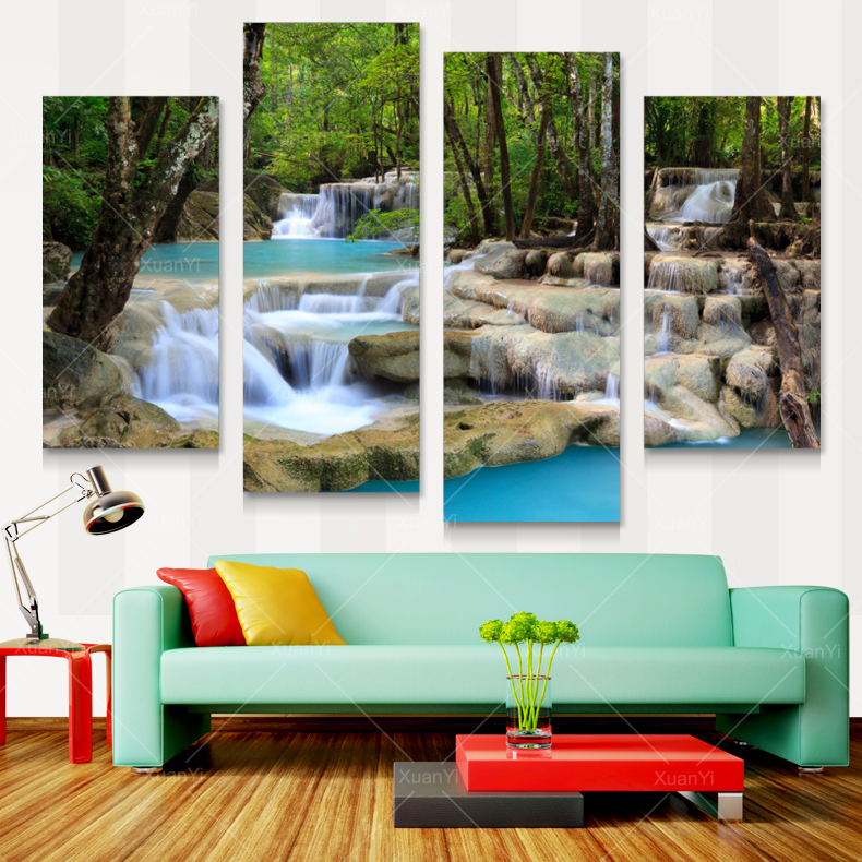 Canvas Waterfall Painting Tree Scenery Painting Nature Pictures Cuadros Wall Art Home Decor For Living Room Unframed PRL1020