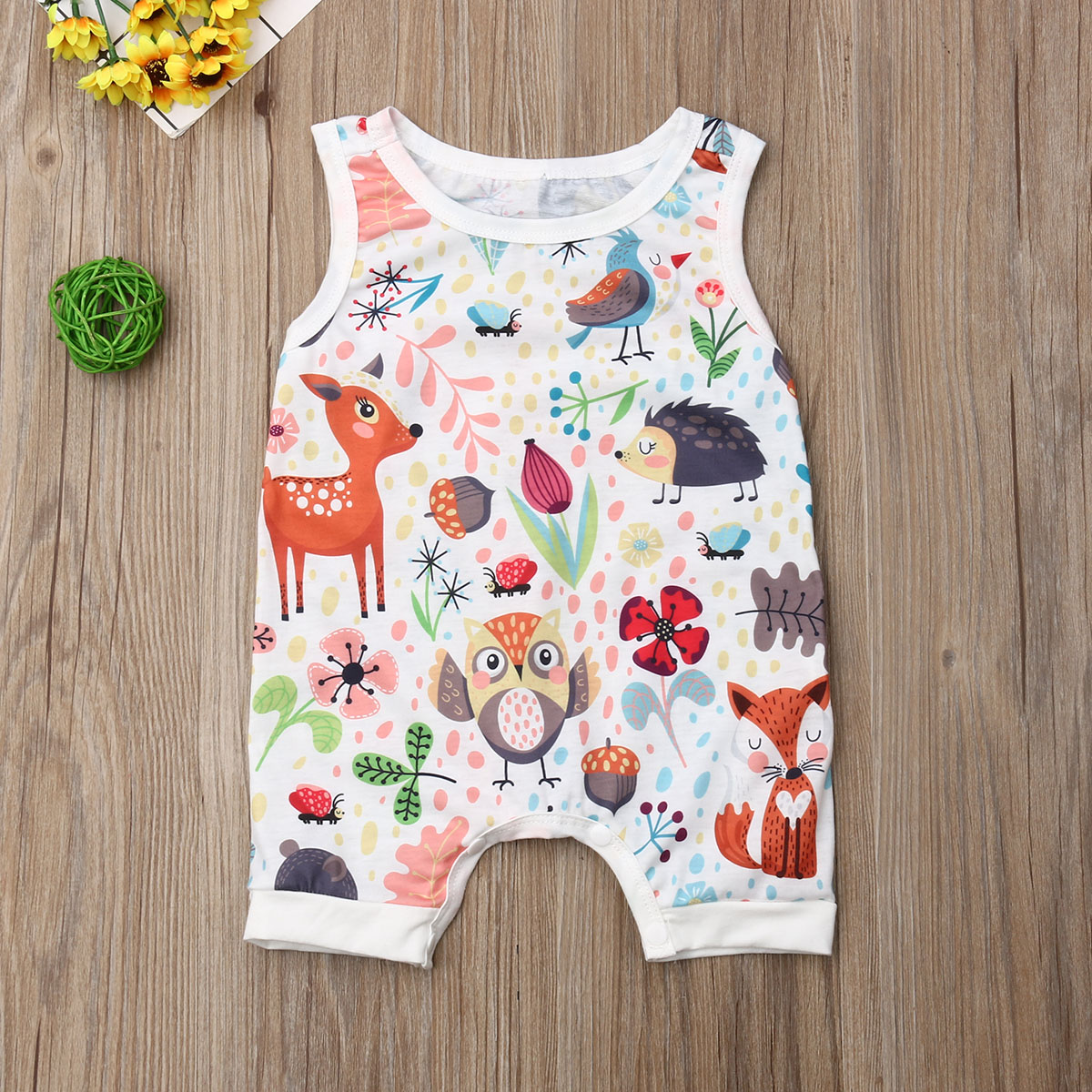 Pudcoco Summer Newborn Baby Girl Clothes Sleeveless Animal Print Romper Jumpsuit One-Piece Outfit Sunsuit