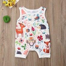 Pudcoco Summer Newborn Baby Girl Clothes Sleeveless Animal P