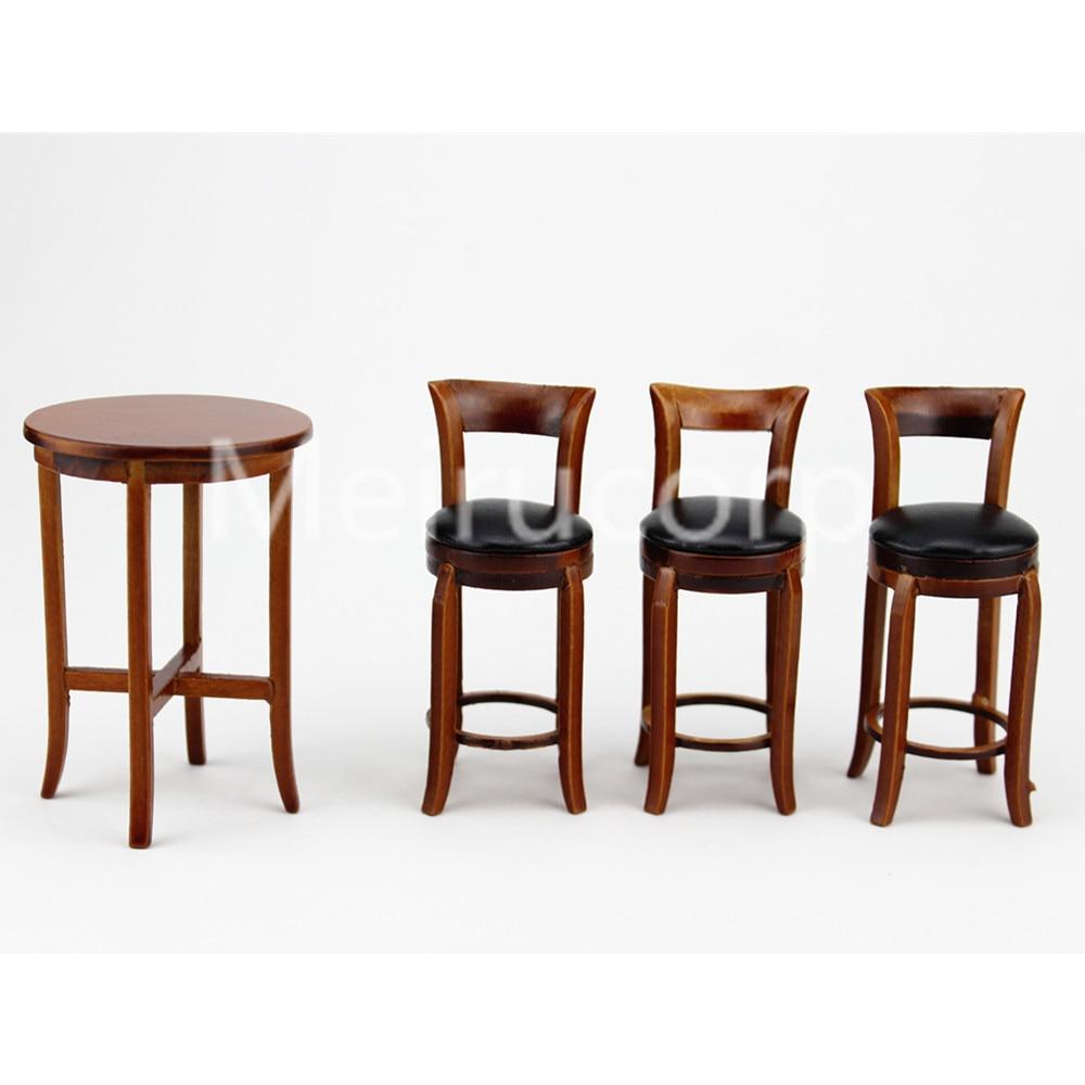 1:12 Dollhouse Miniature Furniture Wooden Bar Stool Elegant Flower Print Chair\