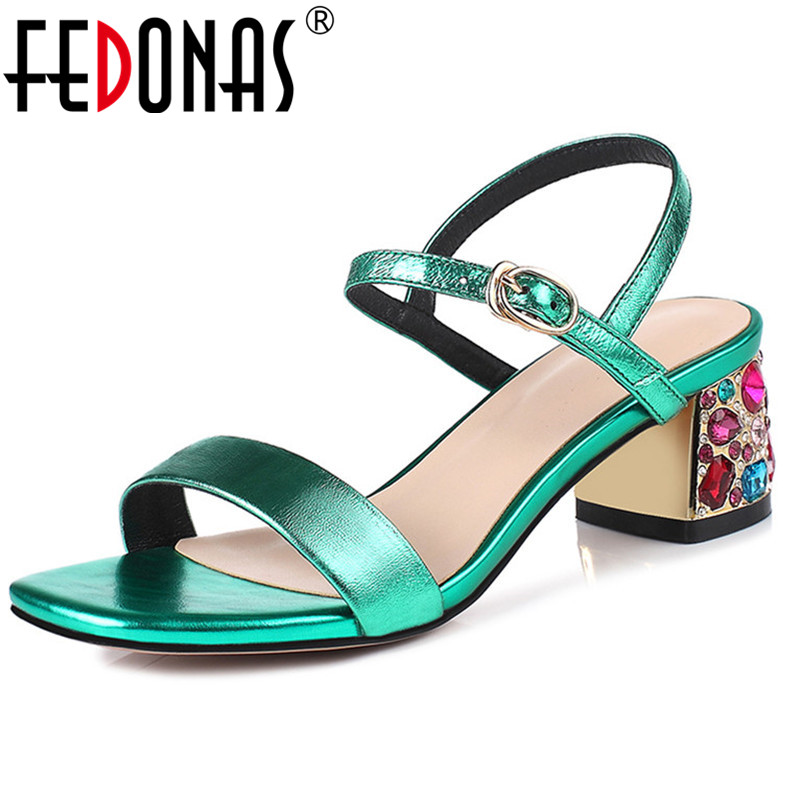 FEDONAS Top Quallity Genuine Leatehr Women Pumps Multicolour Rhinestone High Heels Summer Sandals Buckle Strap Retro Shoes WomanFEDONAS Top Quallity Genuine Leatehr Women Pumps Multicolour Rhinestone High Heels Summer Sandals Buckle Strap Retro Shoes Woman