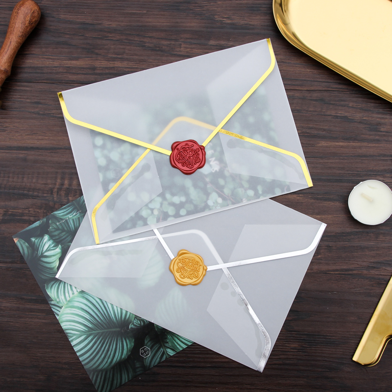 20pcs/set Transparent Paper Envelope Hot Stamping Print Thicken Paper Envelope For Invitation Anniversary Envelope Scrapbooking