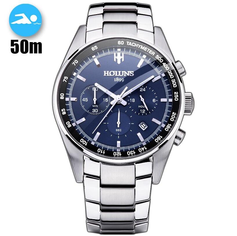 50 m Dropship Quente À Prova D' Água Completa Aço Men Watch Militar Relógios De Pulso Cronógrafo Homens Moda Sports Watch Relogio masculino