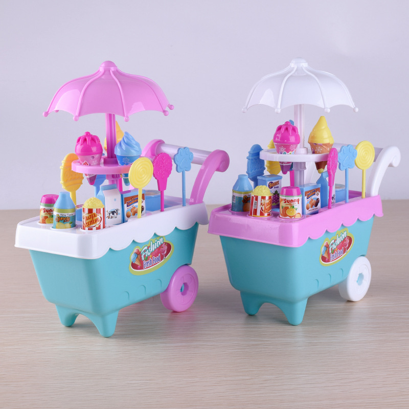 16Pcs Funny Outdoor Children Gift Ice Cream Cart Play Set Kids Pretend Play Toy Food Toy Education Novelty Gag Toys for Children