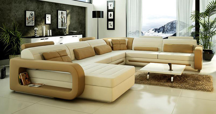 2017 Lastest Design U Shape Leather Sofa Living Room Furniture