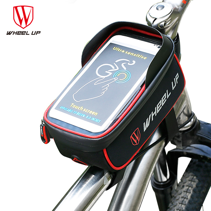 MTB Mountain Front Bike Bag Bicycle Rainproof Touch Screen Phone Bags Red Black Cycling for 6.0 in Cell Map Bike Accessories