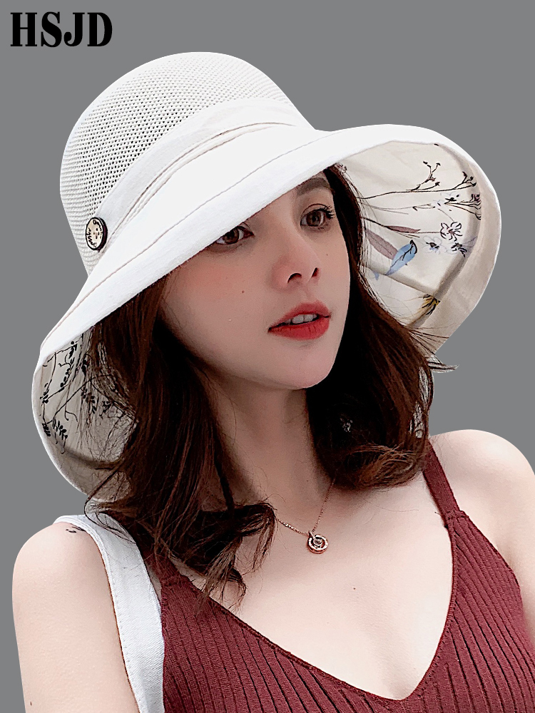 2019 Summer Big Wide Brim Flower Sun Hat For Women Mesh UV Protection Beach Hat Female Net Foldable Sun Hats Lady's Bucket Hat