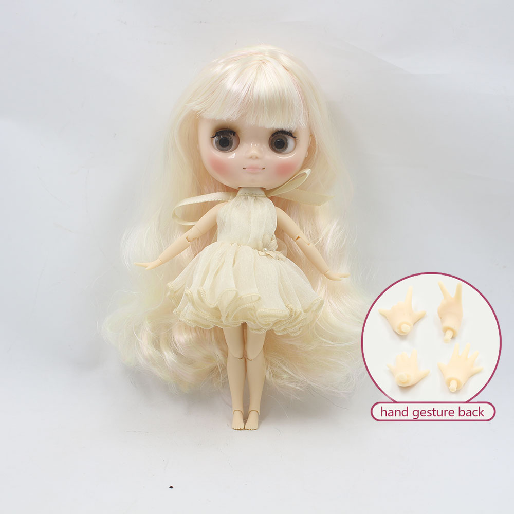 Nude middie blyth joint doll light golden hair Transparent face suitable DIY gift for girl like the icy doll middle blyth