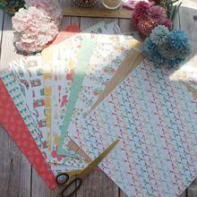 24sheets 12 DIY Sunday Outdoor Party Design Gift Wrapping Paper Creative Craft Handmade Scrapbooking Set
