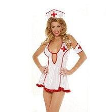 Hot 2015 Adult Sexy Lingerie Halloween Costume Fancy Dress Naughty Nurse Uniform Sexy Temptation Red Hemline Cosplay  CC63