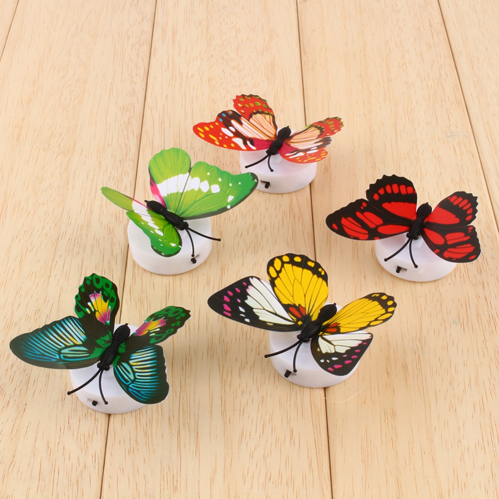 Colorful Butterfly Night Light Baby Kids Room Wall Lights Party ...