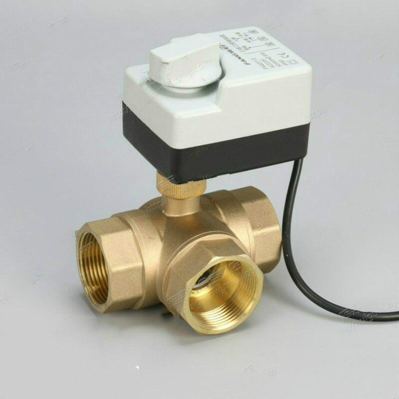 3 voies AC220V DN15 (G1/2 ) à DN40 (G1-1/2) robinet à tournant sphérique motorisé en laiton 3 fils/moteur d'actionneur électrique avec fonction de commutation manuelle