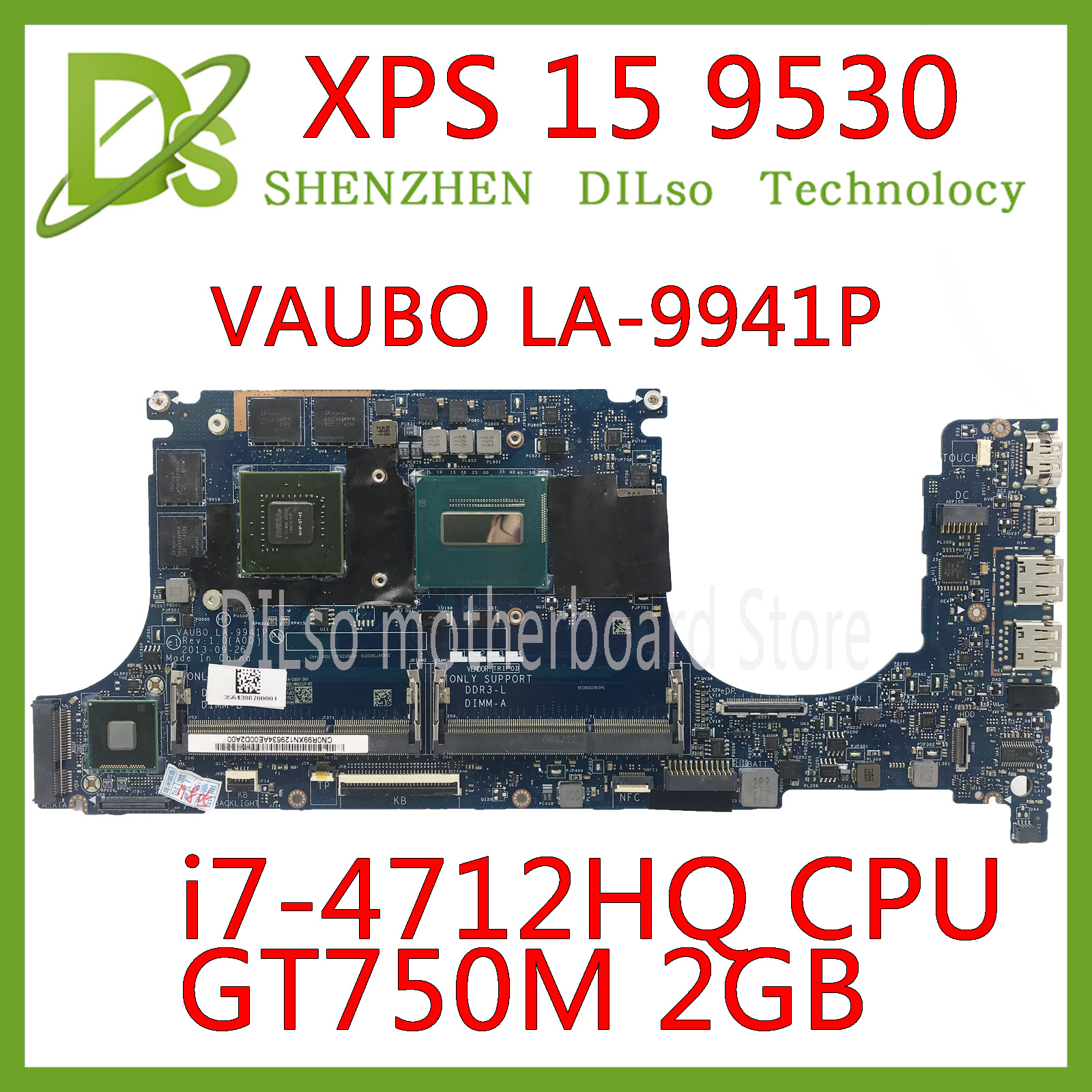 KEFU CN-0R99XN 0R99XN Motherboard FOR Dell XPS 15 9530 Laptop Motherboard LA-9941P I7-4712HQ CPU GT750M 2GB Tested 100% Work