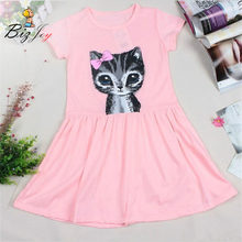 Summer Toddler kids Baby Girls Dress Clothes Clothing children Party cartoon lovely Gown Formal Casual Short sleeve Dresses(China)